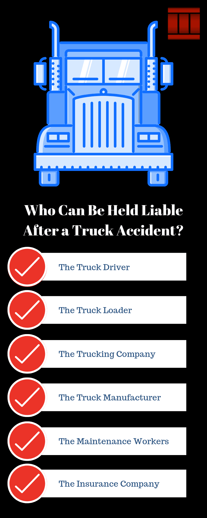 Infographic: Who Can Be Held Liable After a Truck Accident? The truck driver, the truck loader, the trucking company, the truck manufacturer, the maintenance workers, the insurance company